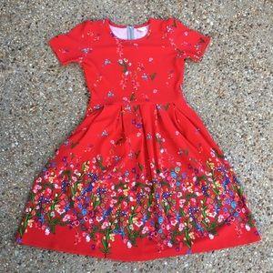 LuLaRoe Amelia Dress Dress Red Floral Unicorn
